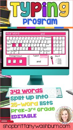 Learn the keyboard keys while practicing sight words with this typing program. 342 common sight words are included, as well as a video of directions for how to use your own lists. There are 14 Google Slides files which split the words into groups of 25. These are perfect for any students grades PreK-3rd or older students who are still working on the Dolch sight words list. There are 3 practice slides for each word. I consider this a mastery activity, meaning that there are no wrong answers…