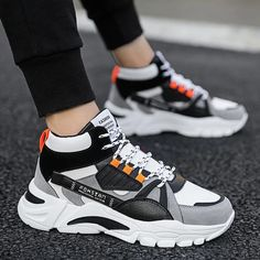 Casual Sneakers, Sneakers Fashion, Casual Shoes, Men Casual, White Sneakers, Dad Shoes, Men's Shoes, Shoes Sneakers, Platform High Heels