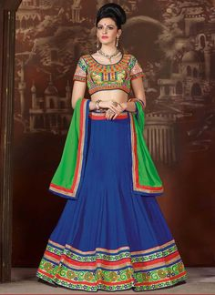 Dazzling Green and Blue Coloured Chinon silk  Embroidery Indian Designer Lehenga Choli At Best Price By UttamVastra - Try Something New Today