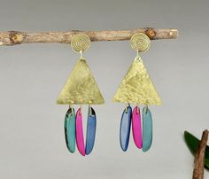 Geometric large earrings , tagua drop earrings, colorful jewelry, gold spiral studs, vegetable ivory, long chunky earrings, shoulder drop. by ColorLatinoJewelry on Etsy