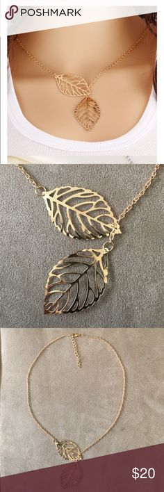 """Adjustable leaf necklace gold color Sophisticated and feminine adjustable double leaf gold colored necklace. Dimensions 11"""" length with 2"""" adjustable clasp and chain in back. Jewelry Necklaces"""