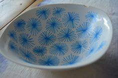 Hand-Painted Bowl / Blue Dandelion Pattern / Jewelry or Trinket Bowl / Decorative Organizer by 7thStreetHaven on Etsy
