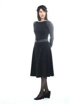 Black jersey dress by TAMAR LANDAU,#modest chic
