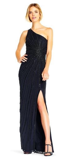 Sassy and chic, this refined evening dress from Adrianna Papell 202013 is a stunning selection for any occasion. The elegant bodice has a single shoulder strap and Beaded Evening Gowns, Evening Dresses, Girls Dresses, Flower Girl Dresses, Long Dresses, One Shoulder Gown, Business Dresses, Dress Making, Dress To Impress