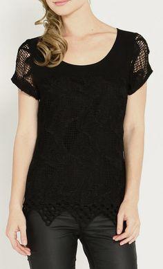 Black Crochet Scoop Neck Top