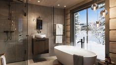 Kvitfjell - Enestående, arkitekttegnet laftehytte på en av Vardens råeste tomter! Panoramautsikt og perfekt Ski-inn/-ut | FINN.no Lillehammer, Mountain Cottage, Bathtub, Relax, Real Estate, Ski, Rustic, Lights, Bathroom