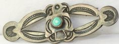 VINTAGE OLD DEAD PAWN STERLING SILVER TURQUOISE THUNDERBIRD BAR PIN