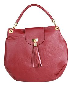Another great find on #zulily! Bordeaux Porto Rotondo Leather Shoulder Bag by Made in Italia #zulilyfinds