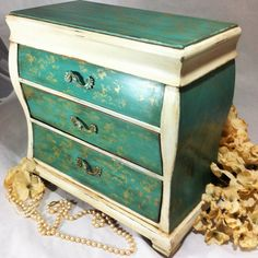 Teen Jewelry Box Large Boho Jewelry Box Armoire Green And Pink Jewelry Cabinet