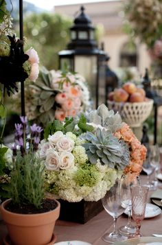 Earthy meets elegant with this Spanish inspired wedding shoot. #plants #lanterns #centerpiece