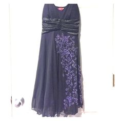 Formal dress Knee length//beaded//purple layer under black//adjustable straps Ruby Rox Dresses Midi