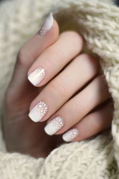 brown-y nude to white ombre nailart @tobeyoutiful w/ flecks of glitter over darker shade | #nails winter snow-inspired