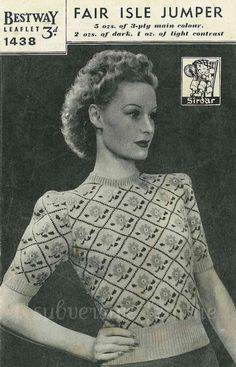 Land Girl Fair Isle Jumper from WWII, c. 1940s - vintage knitting pattern PDF (426). $2.00, via Etsy.