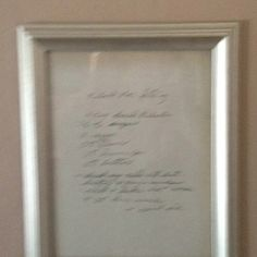 Handwritten recipe from grandmother  copied and frame. Gifts for grandchildren.