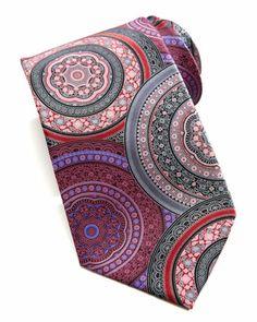Ermenegildo Zegna Big-Wheel Paisley Silk Tie, Fuchsia