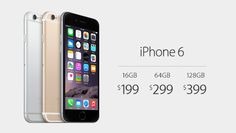 iPhone6 starts at $199 with a two-year contract.