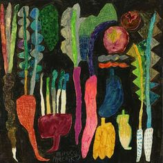 """Farming harvesting block. Japanese artist Miroco Machiko. Third graders looked at examples of still life drawings and drew crayon contours of an assortment of vegetables. Next, we used liquid watercolors for the veggies - learning to make the colors """"bleed"""" - and a final layer of black for the negative space."""
