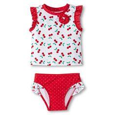 Girls' Cherries Rash Guard with Matching Bikini Bottoms