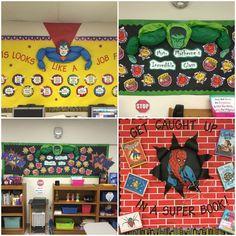 New classroom, classroom bulletin boards, classroom displays, classroom set Superhero Bulletin Boards, Superhero Classroom Decorations, Classroom Themes, Superhero School Theme, Superhero Party, 5th Grade Classroom, Classroom Setting, School Classroom, Online Classroom