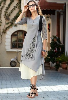 #Readymade #Gray #Georgette Stylish Tunic #kurti #partywearkurti #stylish #nikvik #usa #designer #australia #canada #fashion #dress #tunic #sale