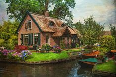 Venice of the North by Jenny Rainbow. Giethoorn, also known as the Venice of Holland or theVenice of the North, is a beautiful village in the Netherlands. There are no cars or roads here. Art Prints For Home, Home Art, Fairytale House, Le Village, Architecture, Fine Art Photography, Wildlife Photography, Old Houses, Fine Art America