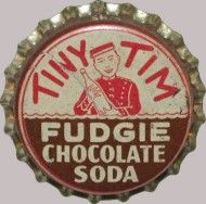 Tiny Tim Fudgie Chocolate Soda, bottle cap | Tiny Tim Beverage Co., Wilkinsburg, Pennsylvania USA | One sold on eBay 9/09 $88.90