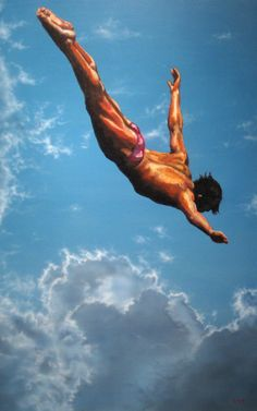 Diver by Lance Rodges - oil on canvas