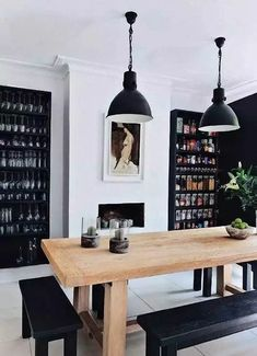 High & Low: A Scandi-Traditional Style Dining Room - black and white with warm wood and clean lines