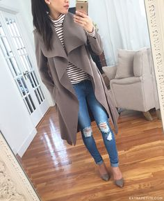 waterfall drape wrap jacket & distressed ripped skinny jeans // casual outfit ideas