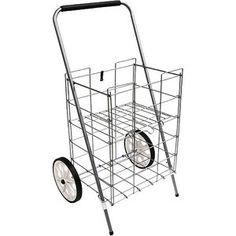 Oh man I need this! lol.......   2 Wheel Folding Shopping Cart w/Folding Shelf, Silver  Online $19.88