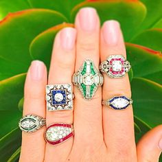 The #emeralds, #sapphires and #rubies give these #vintage #diamond #rings the perfect pop of color!  #CraigEvanSmall #vintagejewelry #vintagering #engagementring #ruby #diamonds