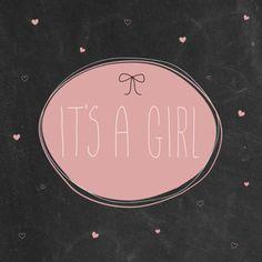 Hippe kaart met krijtbordprint. Leuk om te sturen als er een meisje is geboren. Design: Boefjespost Te vinden op: www.kaartje2go.nl
