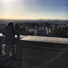 The #morning #view over #Paris from the #hill #Montmartre #sunshine and #haze (at Montmatre; Sacré-Coeur)