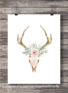 Watercolor succulents and cacti   Aztec tribal deer stag antlers Skull   Printable southwestern watercolor skull wall art   Instant download