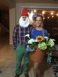 Couples costumes. Garden gnome and flower pot.
