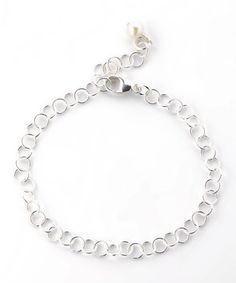 Sterling Silver & Pearl Round-Link Charm Bracelet