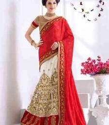 Buy multicolor embroidered satin saree with blouse lehenga-saree online