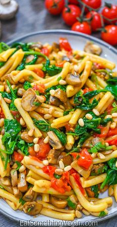 In about 25 minutes of time, this Tomato Mushroom Spinach Pasta will be ready and waiting. Pair this easy pasta recipe up with a side salad for a complete meal. Healthy Meals, Healthy Recipes, Spinach Pasta, Easy Pasta Recipes, Side Salad, Rice Dishes, Italian Recipes, Tomatoes, Stuffed Mushrooms