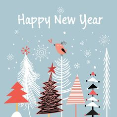 Free Vector Stroke line tree with birds star flake pattern Happy New year invitation card template