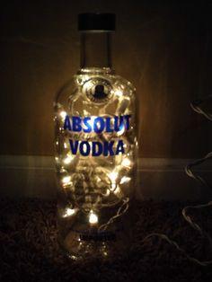 Absolut Vodka Bottles   Lighted Glass Absolut Vodka Bottle Lamp Gift by SchulersGlassDecor