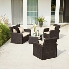 Rattan Garden Furniture 4 Seater panama rattan effect 6 seater garden furniture set - home delivery