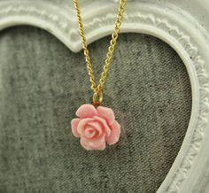 Vintage Pink Rose Necklace Bridesmaid Flower by MadisonEliseStudio