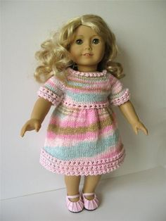 "this one-of-a-kind hand knitted dress for 18"" doll like American Girl is for SALE"