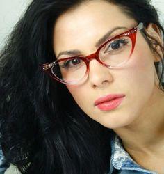Gafas Ojos De Gato Para Damas Retro 50's Sexy Marco Gradiente Rojo Transparente in Gafas y Lentillas | eBay