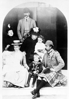Queen Victoria with Prince Henry and Princess Beatrice of Battenberg; the Duke and Duchess of Connaught; Princess Margaret and Prince Arthur and Princess Patricia, Balmoral, Scotland, 1886.