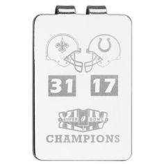 "New Orleans Saints Super Bowl XLIV Champions Laser Etched Money Clip by Logo Art. $25.00. Made in the USA and packaged in a black gift box. Laser etched with the team helmets, Super Bowl XLIV logo, and the final score of the game. Silver-plated money clip. Officially licensed Super Bowl XLIV Champions silver plated money clip. Dimensions:  L 2"" x W 1 3/8"". NFL New Orleans Saints Super Bowl XLIV Champions Laser Etched Money Clip"