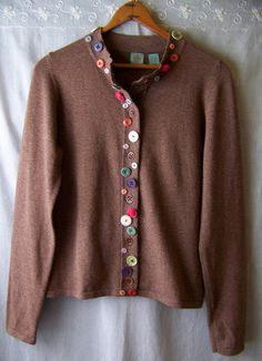 Anthropologie HWR Button Jar Cardigan Sweater Sz L Marled Brown Long Sleeve RARE Like many anthropologie items, this would be easy to DIY