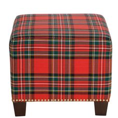 Darby Home Co Afton Nail Button Ottoman Upholstery Color: Ancient Stewart Red Tartan Decor, Tartan Plaid, Ottoman Stool, Upholstered Ottoman, Ottoman Ideas, Celtic, Square Ottoman, Plaid Pattern, Decoration