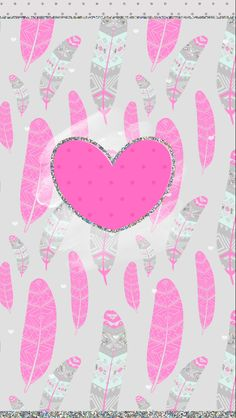 Pink glittery heart with feathers background