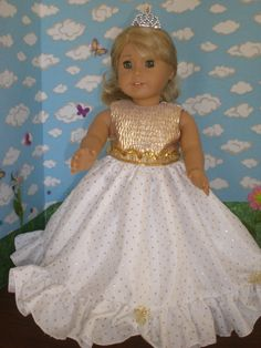 Golden Girl Princess Dress for American by janinenetzel Sewing Doll Clothes, Girl Doll Clothes, Doll Clothes Patterns, Girl Dolls, Ag Dolls, American Girl Doll Costumes, American Girl Clothes, American Girls, Flower Girl Dresses